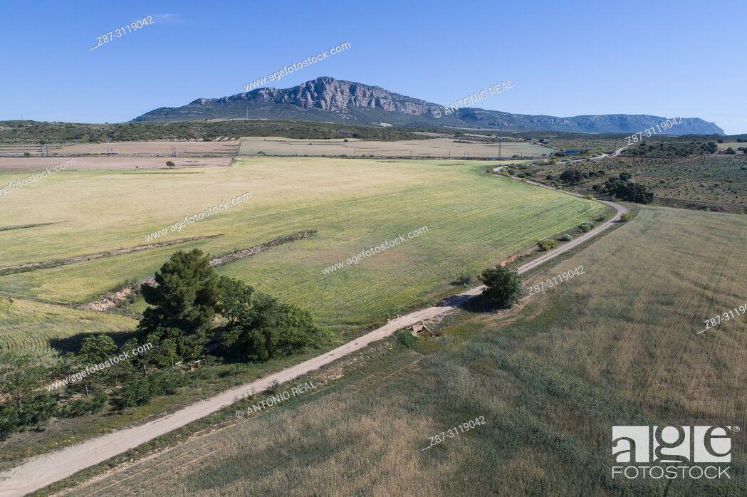 Stock Photo: Dron view. Road and El Mugrón in background. Almansa. Albacete. Spain.