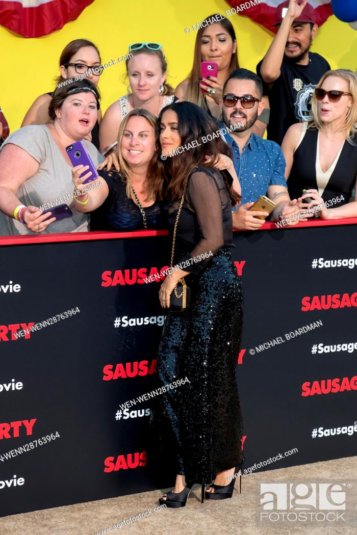 Stock Photo: Salma Hayek attending the Los Angeles premiere of Sony's 'Sausage Party' at the Regency Village Theatre in Westwood, California.