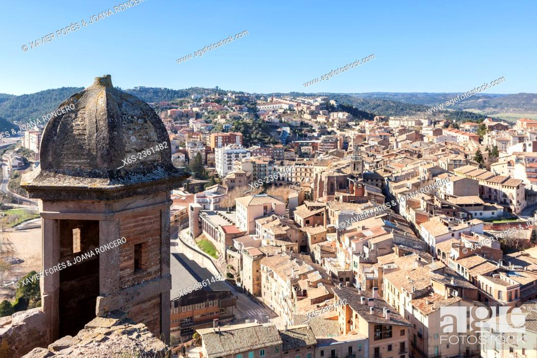 Stock Photo: View of Cardona village from Castle and Collegiate church of San Vicente, Barcelona, Spain.