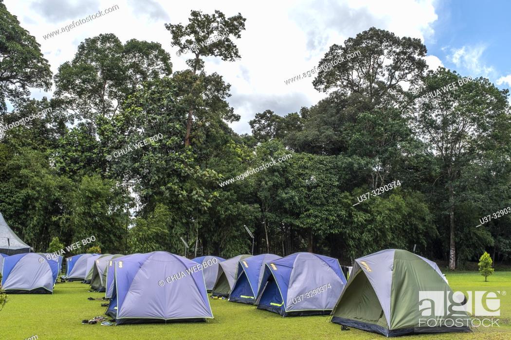 Stock Photo: Sumiran Eco-Camp a multicultural rainforest mix eco-farm camp for all ages. Located in the Kuching City Batu Kawa Rantau Panjang, Sarawak, Malaysia.