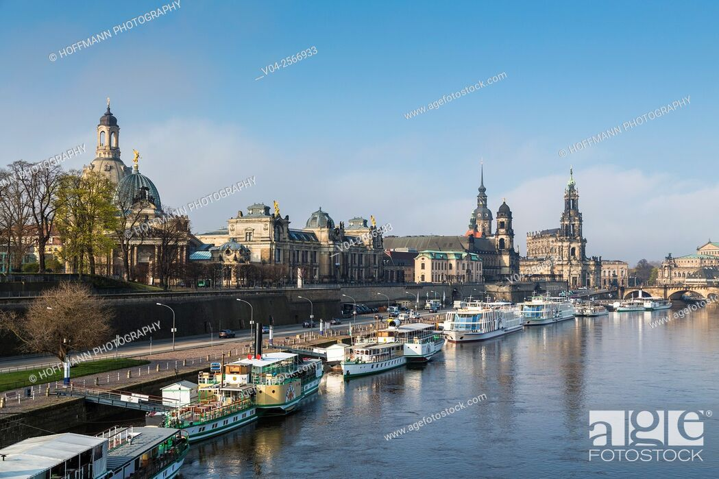 Stock Photo: View of the Brühl Terrace with Hausmann Tower and Hofkirche (Catholic Court Chapel) and the river Elbe in the foreground, Dresden, Saxony, Germany, Europe.