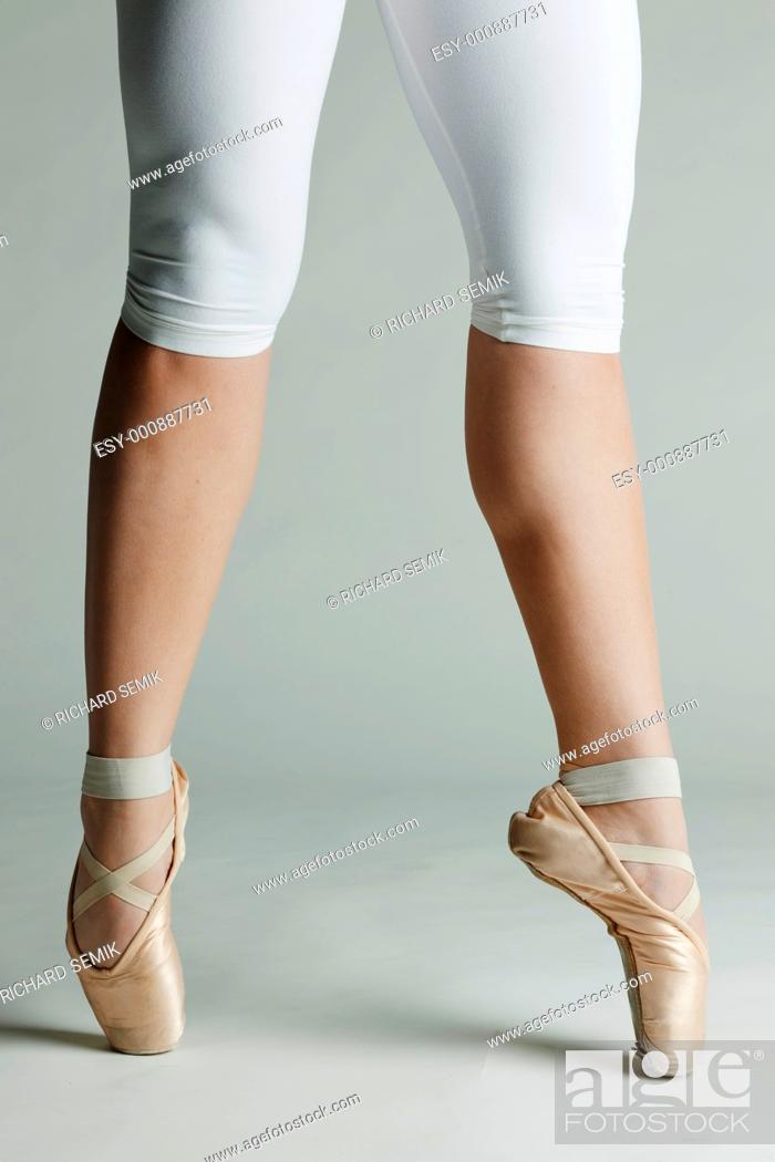 Stock Photo: detail of ballet dancer''s feet.