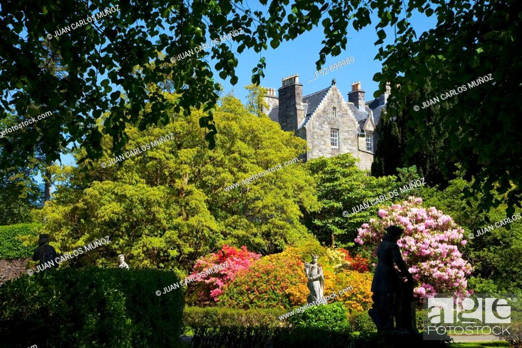 Stock Photo: Torosay Castle gardens, Isle of Mull, Inner Hebrides, Scotland, UK.