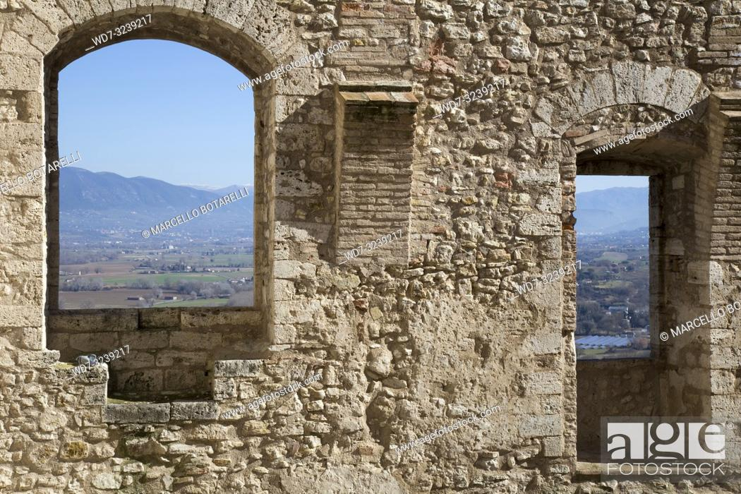 Stock Photo: Landscape of the Narni Valley, near Terni, Umbria, Italy.