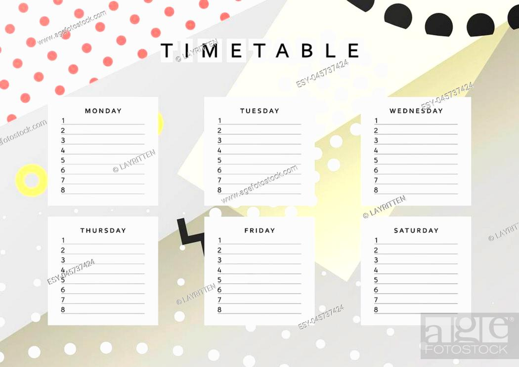 Stock Vector: Planner calendar. Schedule the week, abstract design background. Template info organizer. Blank schedule school. Layout sheet planning.