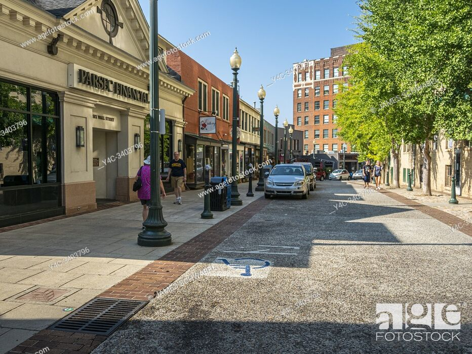 Stock Photo: Wall Street in downtown Asheville North Carolina.