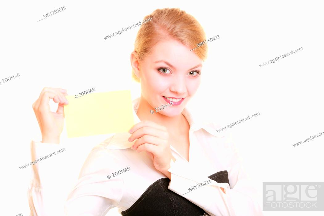 Imagen: Ad. Businesswoman holding blank copy space card.