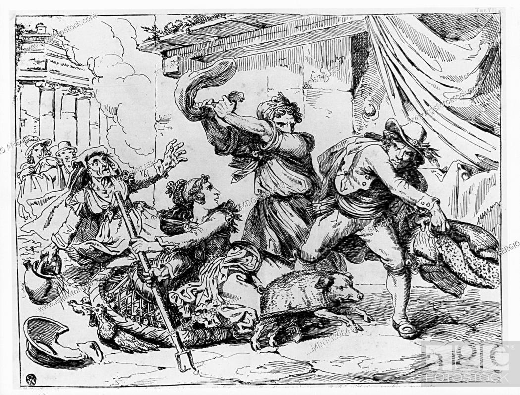 Imagen: The effects of a bad joke (Gli effetti di un brutto scherzo), by Bartolomeo Pinelli, 19th Century, etching.
