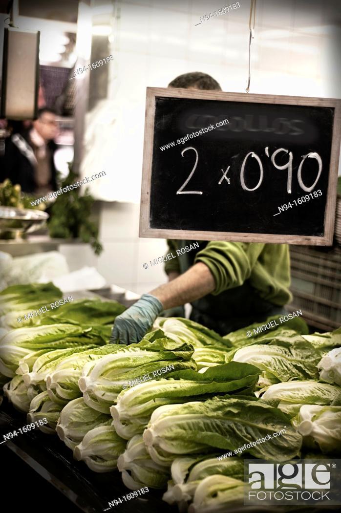 Stock Photo: Lettuce stall in Central Market in Valencia. Spain.