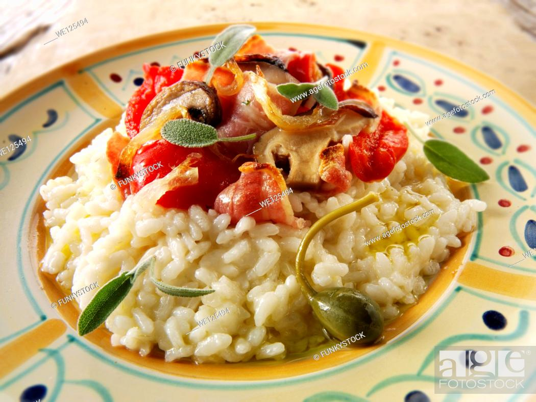 Stock Photo: risotto with roast vegetables.