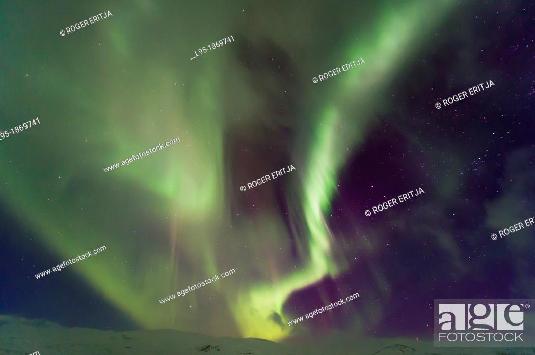 Stock Photo: Northern Lights Aurora Borealis in Scandinavia.