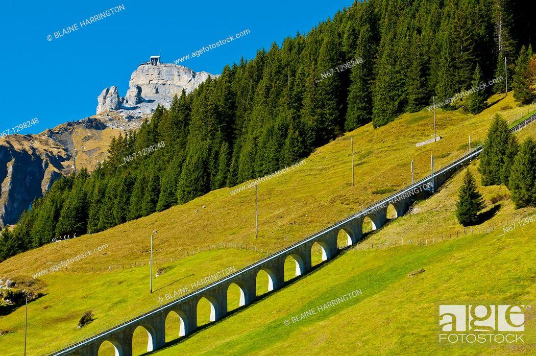 Stock Photo: Seilbahn Mürren Allmendhubel funicular above Murren, Swiss Alps, Canton Bern, Switzerland.