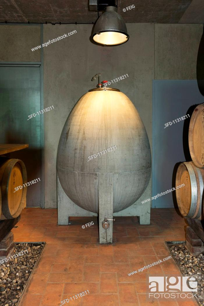 Stock Photo: An egg shaped concrete container in a wine cellar at Weingut am Stein, Würzburg.