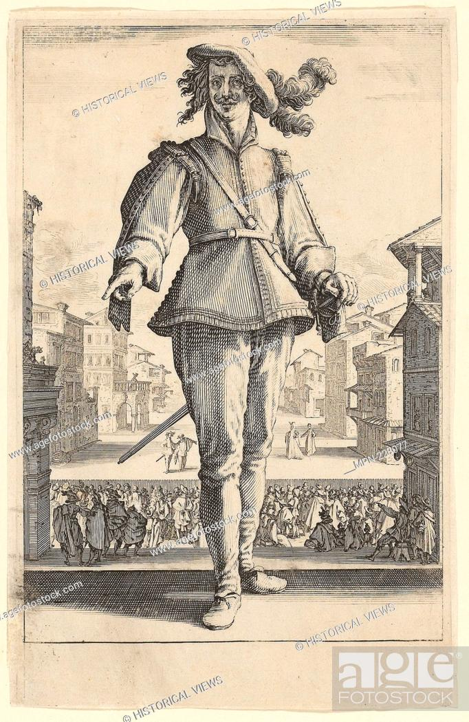 Stock Photo: The Captain or The Lover, from Three Italian Comedians - 1618–20 - Jacques Callot French, 1592-1635 - Artist: Jacques Callot, Origin: France, Date: 1618–1620.