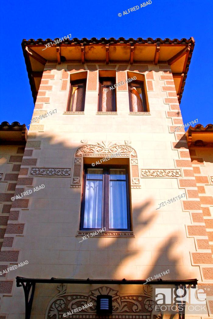 Stock Photo: Windows of the modernist house, Sant Cugat del Vallès, Catalonia, Spain.