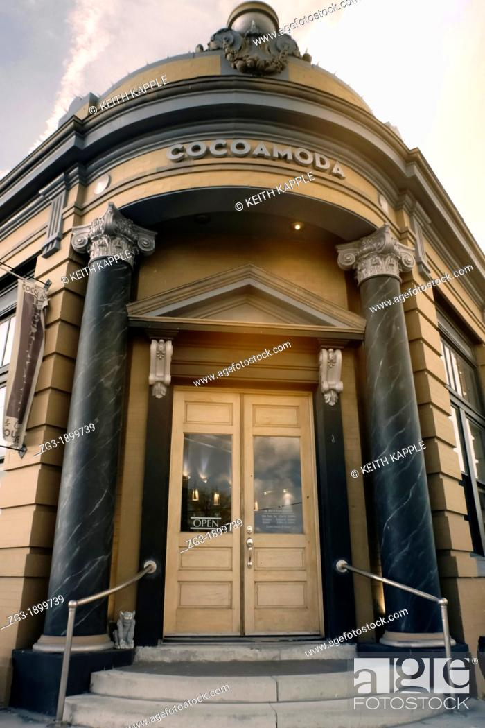 Stock Photo: COCOAMODA is a Texas-based Art Deco styled gourmet chocolate shop in an old town in Calvert Texas.