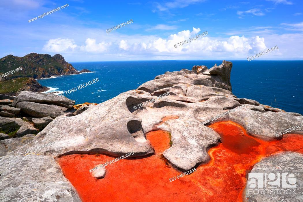 Stock Photo: Alto do Principe high view point in Islas Cies islands of Vigo at Spain.