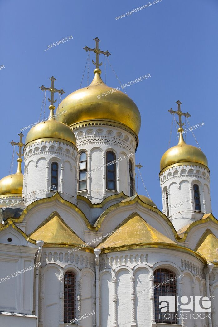 Stock Photo: Annunciation Cathedral, Kremlin, UNESCO World Heritage Site, Moscow, Russia.