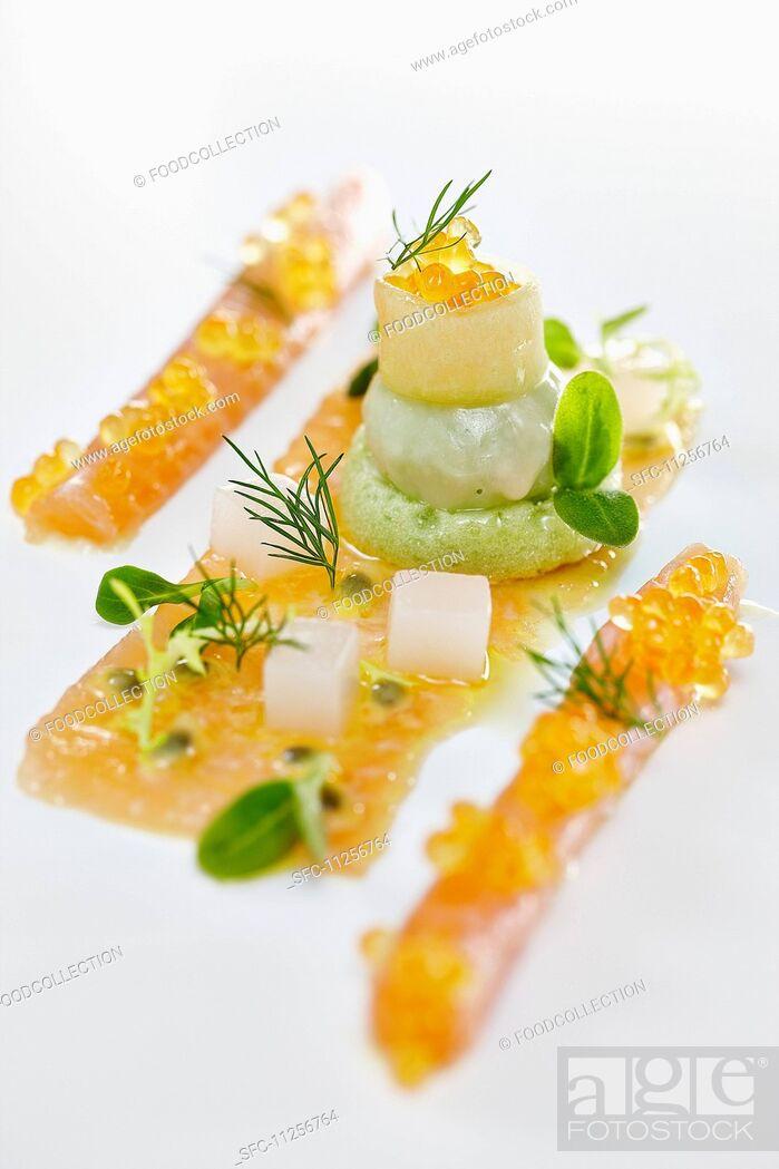 Stock Photo: Char caviar with avocado cream.