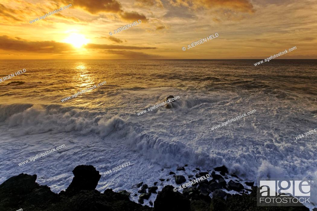Stock Photo: Sunset at East Coast , Los Hervideros , Lanzarote, Canary Islands, Spain.