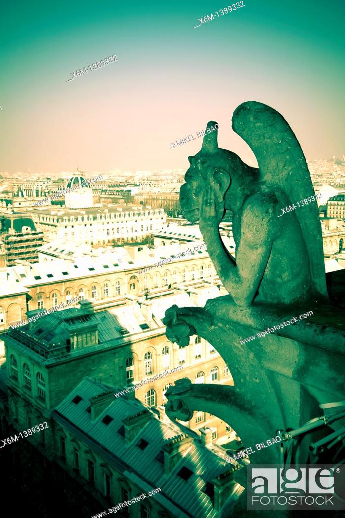 Stock Photo: Gargoyle figure  Notre Dame Cathedral  Paris, France, Europe.