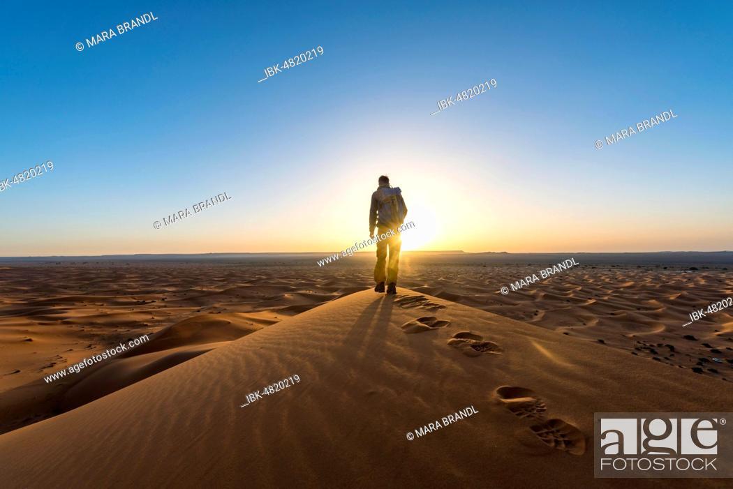 Stock Photo: Young man standing on sand dune, sunrise, Erg Chebbi, Merzouga, Sahara, Morocco.