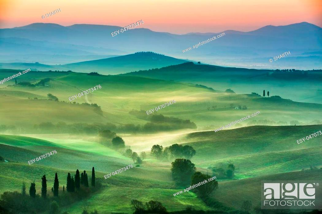Stock Photo: Beautiful view of green fields and meadows at sunset in Tuscany.