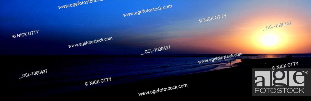 Stock Photo: Sunset on the beach, United Arab Emirates.
