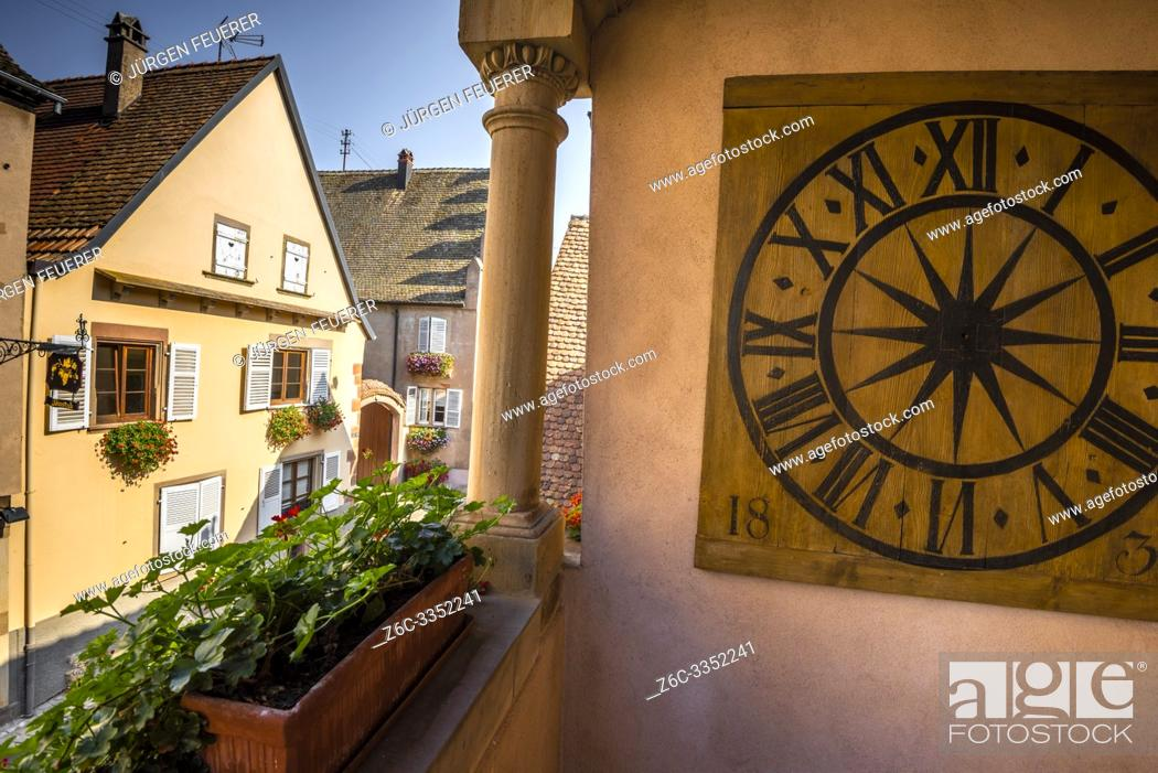 Stock Photo: houses of Mittelbergheim, village of the Alsace Wine Route, member of most beautiful villages of France.