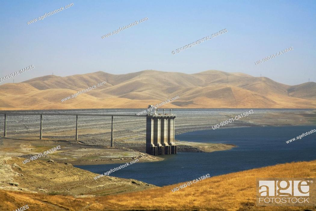 Stock Photo: The San Luis Dam and San Luis Reservoir is a water-storage 'off-stream' reservoir and is typically low in late summer due to its heavy usage for irrigation.