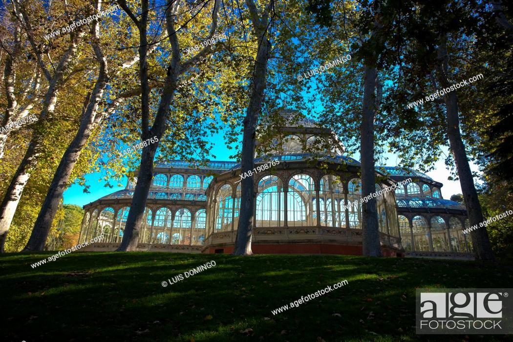 Stock Photo: Cristal Palace in El Retiro park , Madrid, autumn.
