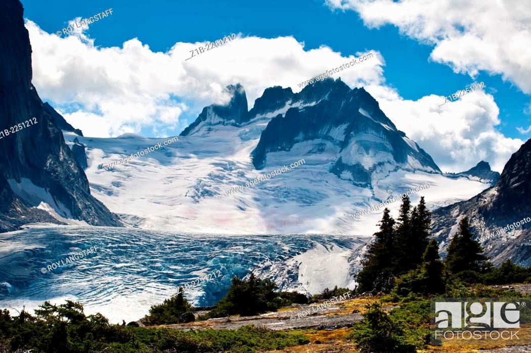 Stock Photo: Vowell Glacier from Tamarack Valley in Bugaboo Provincial Park, British Columbia, Canada.