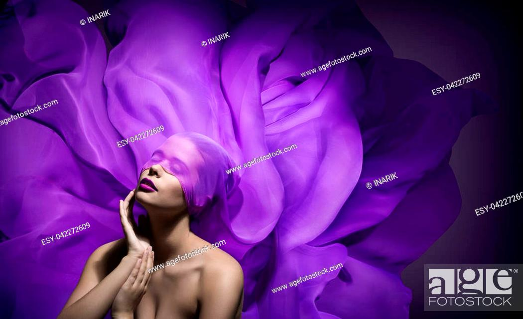 Stock Photo: Fashion Model Beauty Art, Beautiful Woman Face with Purple Cloth Blind on eyes, Blindfolded Girl Fantasy.
