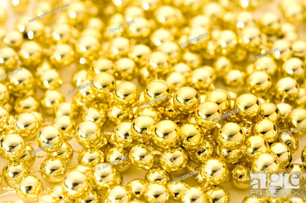 Stock Photo: Decoration, Golden Beads.