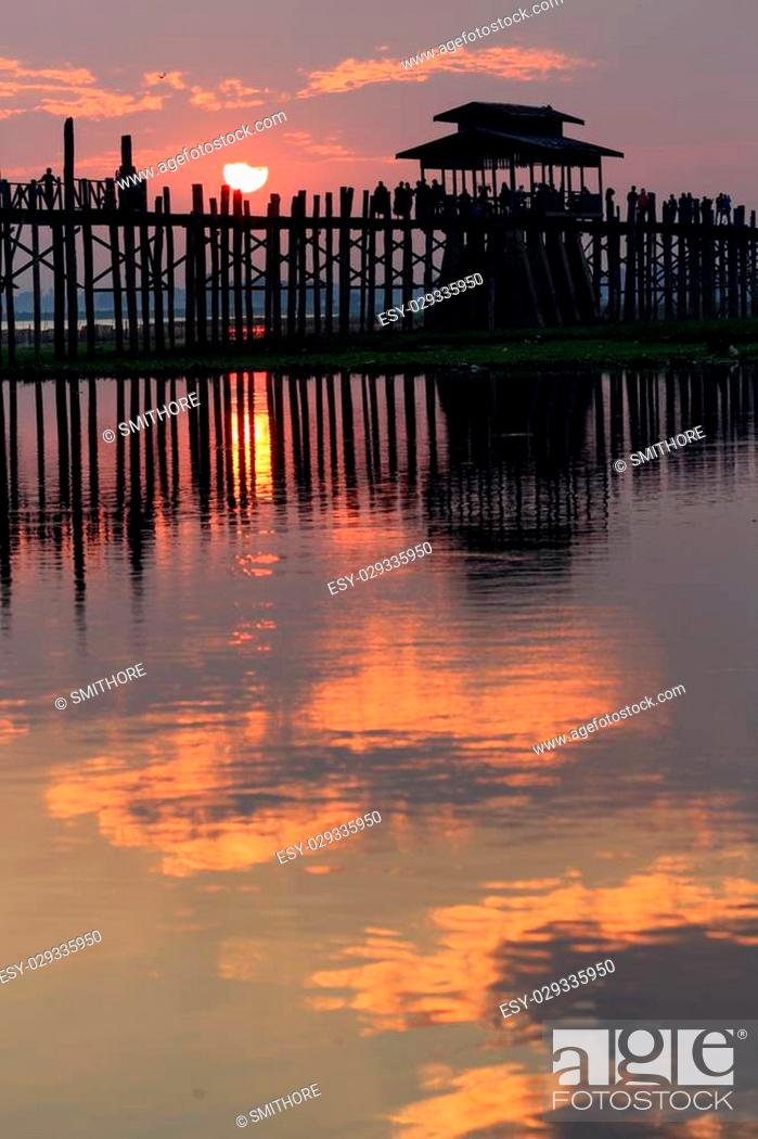 Stock Photo: U bein wooden teck bridge at sunset in Amarapura, Myanmar (Burma).