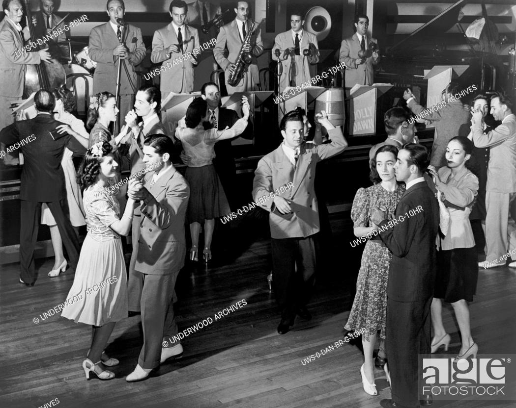 Stock Photo: New York, New York: 1941 .Couples dancing to the Dolly Dawn band at the Roseland Ballroom.