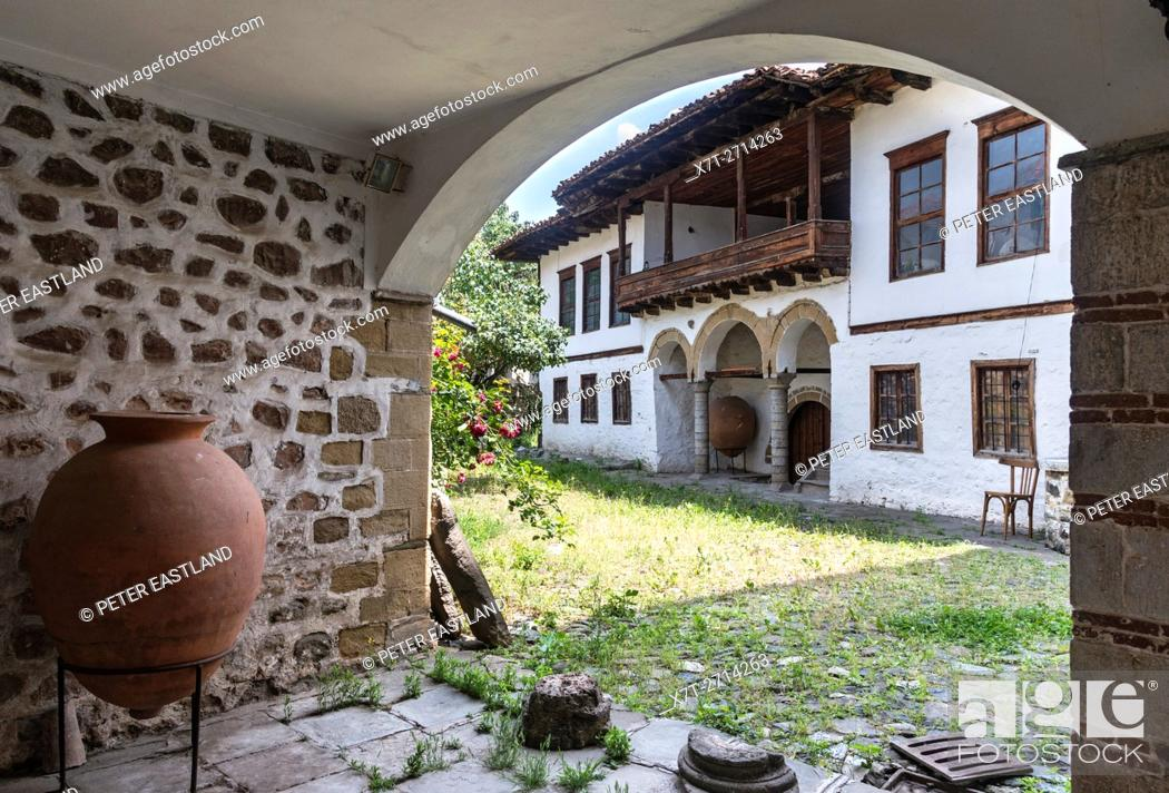 Stock Photo: Typical old Ottoman house, in the courtyard of the Archaeological museum, old quarter of Korca, South eastern Albania.