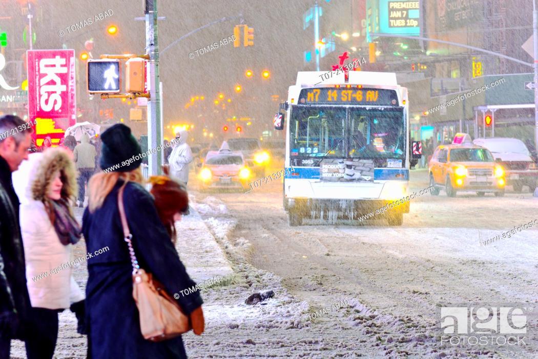 MTA M7 bus, mass transit, public transportation, Times Square during