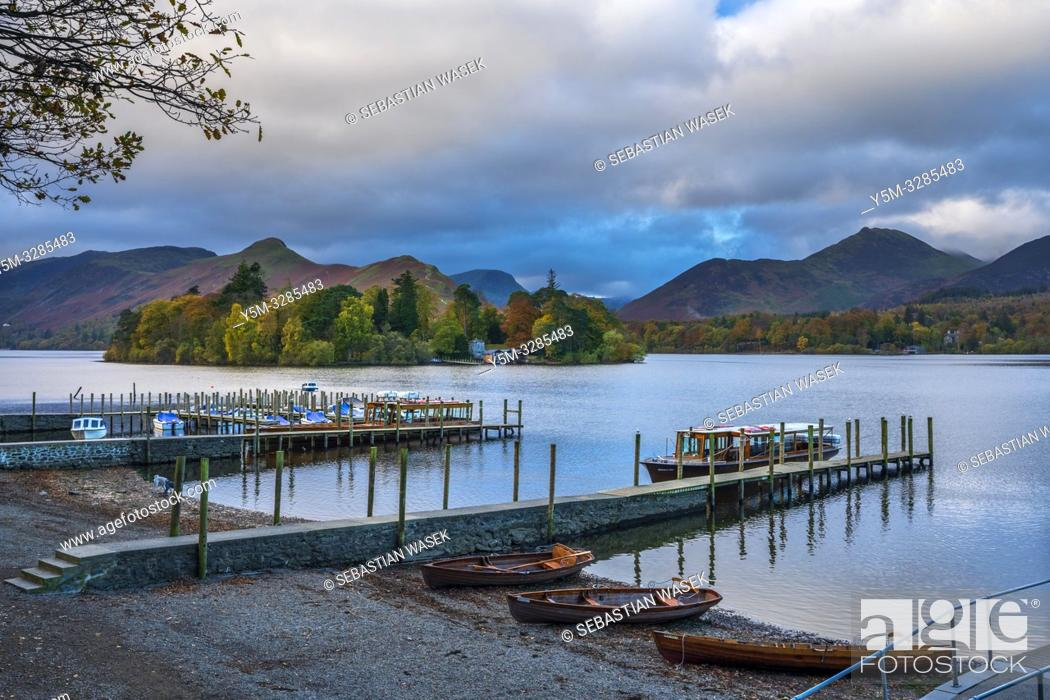 Stock Photo: Derwent Water, Keswick, Lake District National Park, Cumbria, England, UK, Europe.
