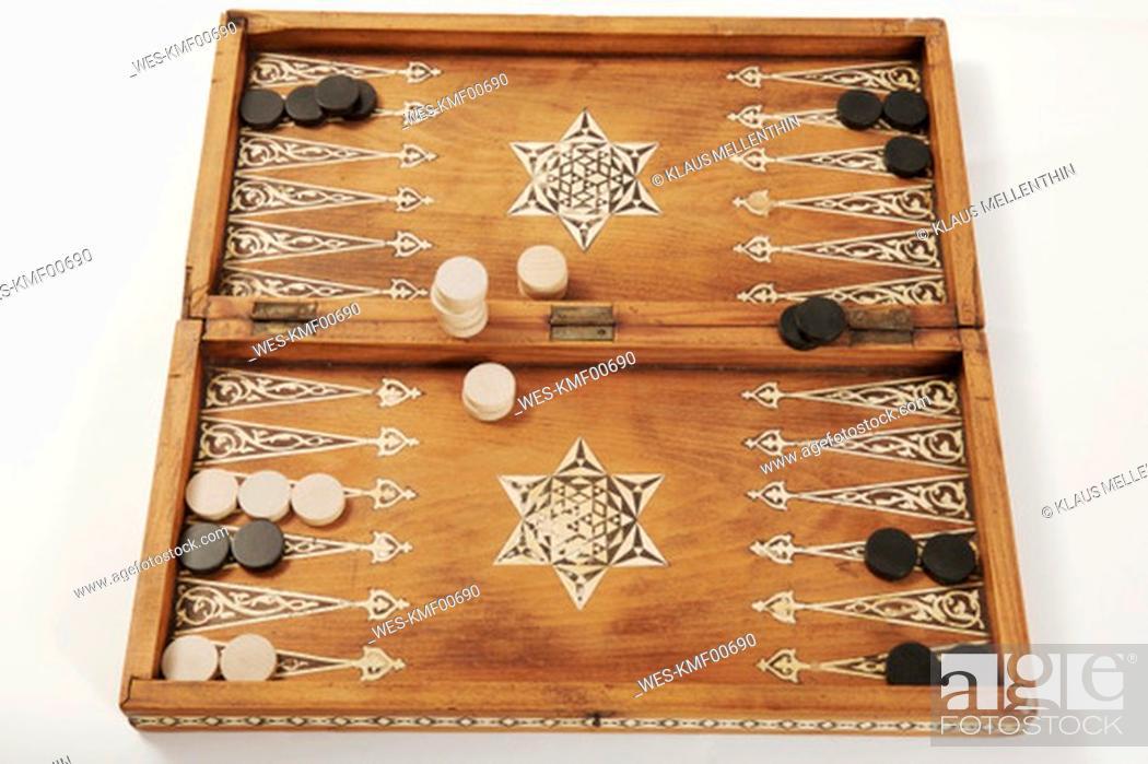 Stock Photo: Backgammon board, close-up.