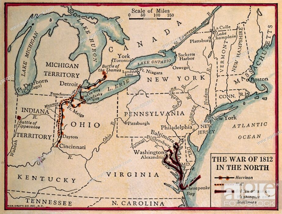 Map Of America In 1812.Geography Travel Usa Politics Second War Of Independence 1812