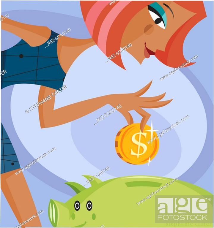 Stock Photo: A woman dropping money into a piggy bank.