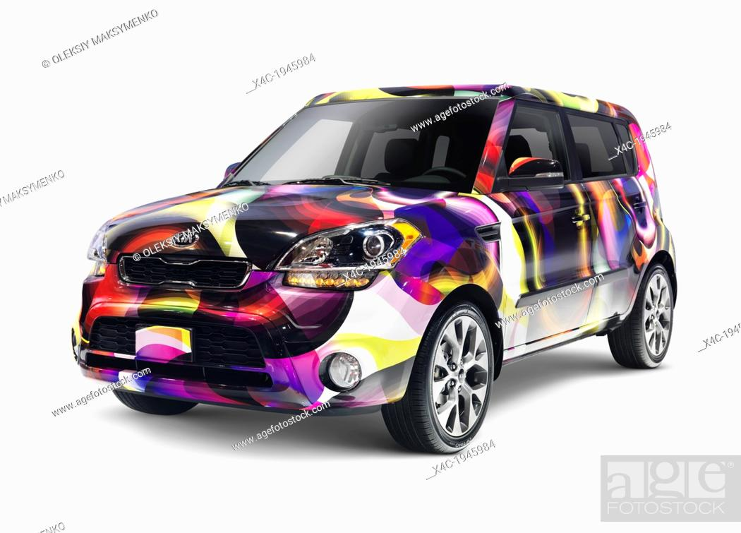 Stock Photo Custom Painted 2017 Kia Soul Compact Car Isolated On White Background With Clipping
