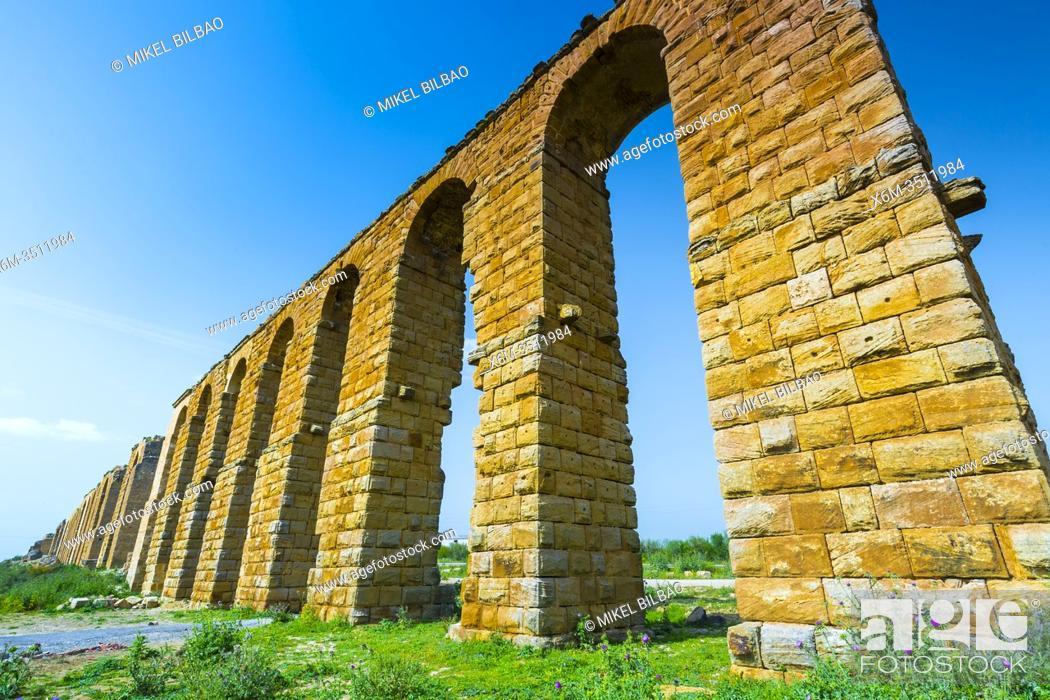 Stock Photo: Zaghouan Aqueduct or Aqueduct of Carthage. Tunisia, Africa.