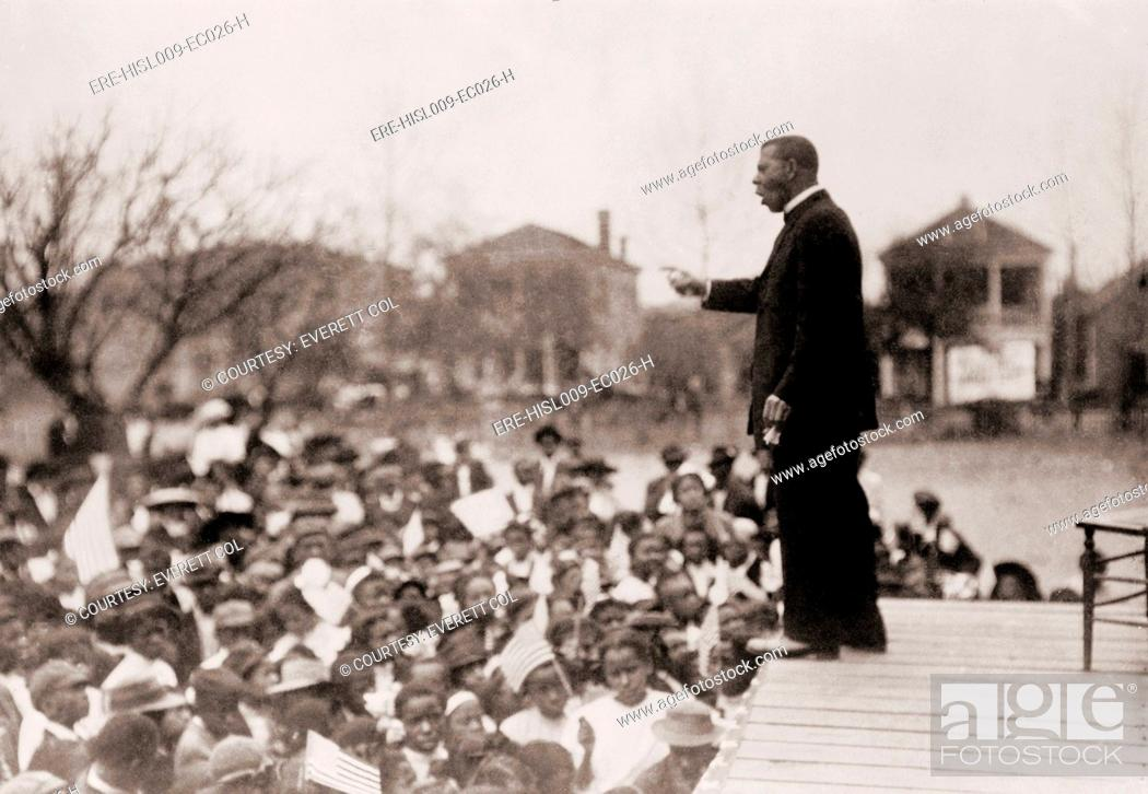Booker T  Washington 1856-1915, speaking to an African