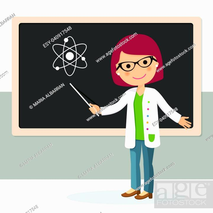 Vector: Young female teacher on science lesson at blackboard in classroom. Teacher with pointer, teacher showing on board. Vector illustration.