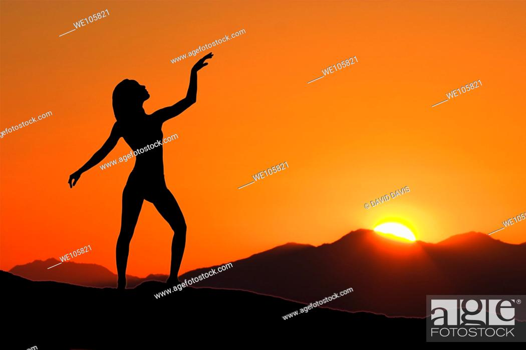 Stock Photo: Young woman relaxing with early morning Yoga.