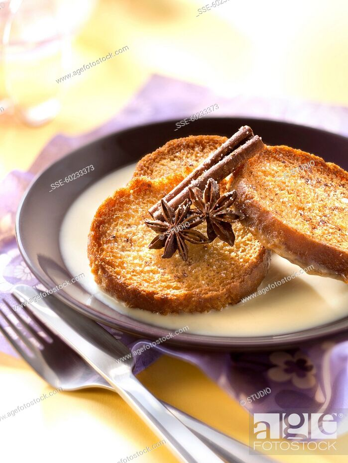 Stock Photo: Crisp french toast with spicy custard.