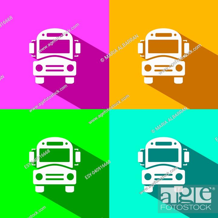 Stock Vector: Bus school icon with shadow on colored backgrounds.