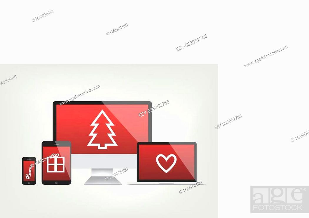 Stock Vector: modern computer screens, notebook, phone, laptop displays - red screen with christmas icons - vector graphic.
